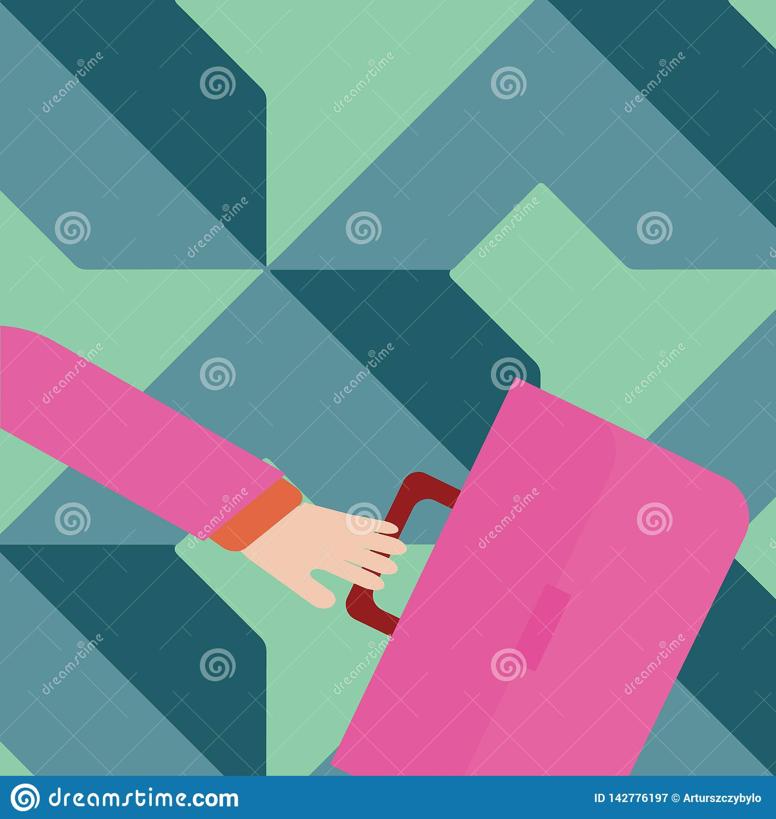 Businessman Hand Holding Colorful Briefcase and Arm Swayed Farther Back is In A Hurry. Creative Background Idea for New