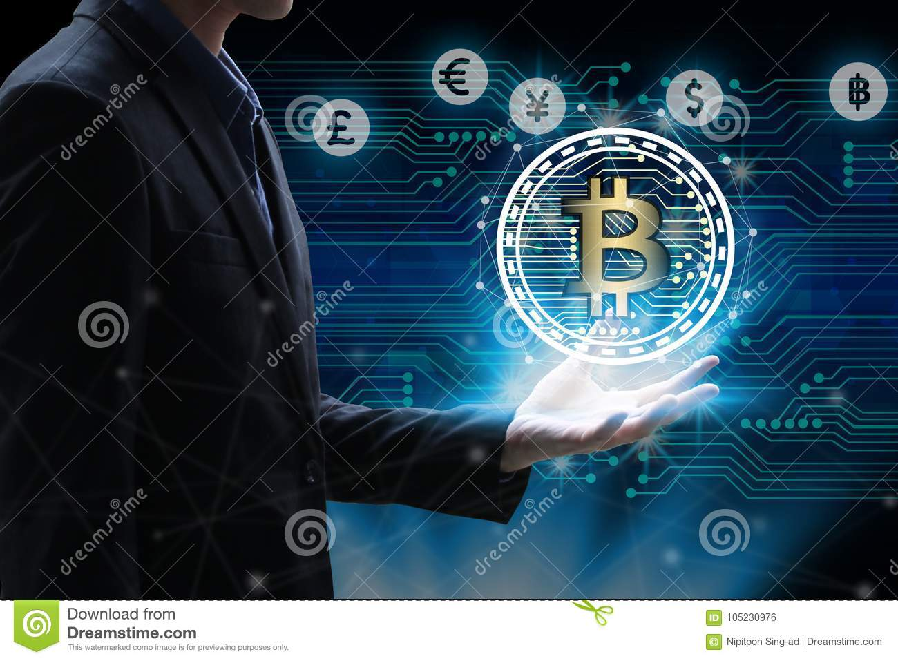 Technology Management Image: Businessman Hand Holding Global Network Using Currencies