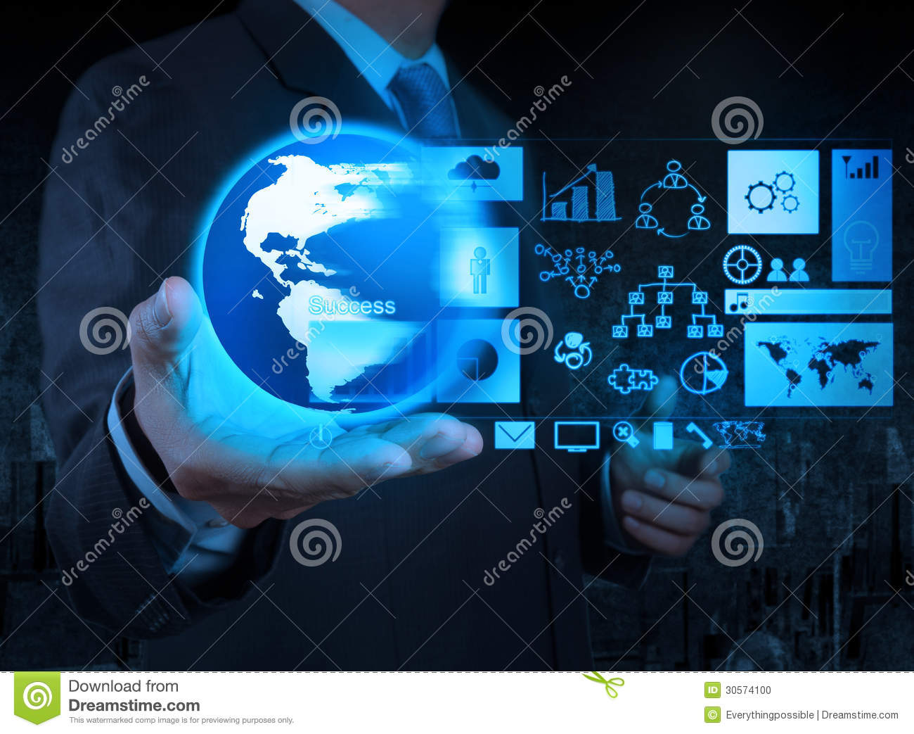 Technology Management Image: Businessman Hand Holding Globe With Business Diagram Stock