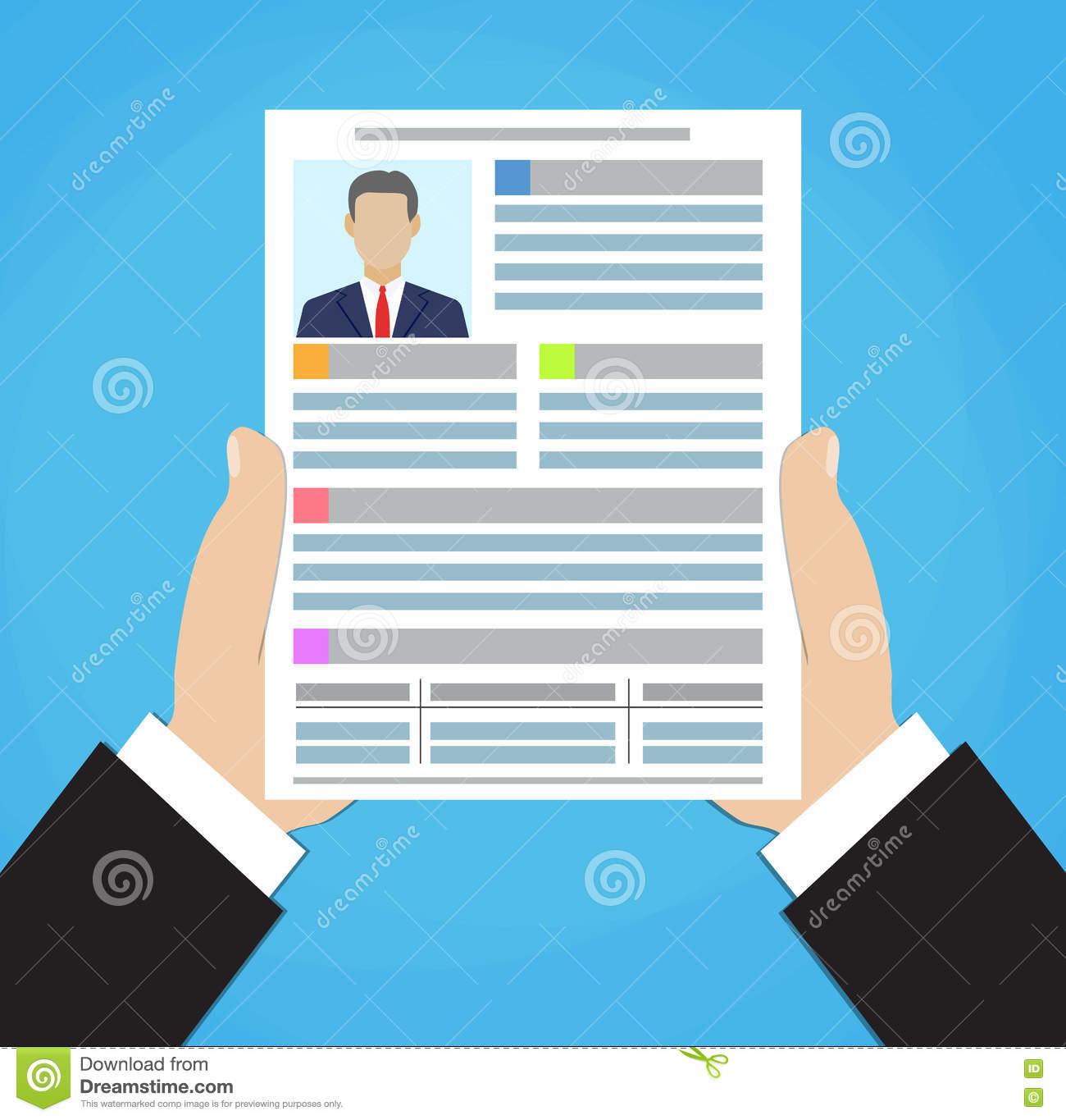 businessman hand holding resume document   stock image