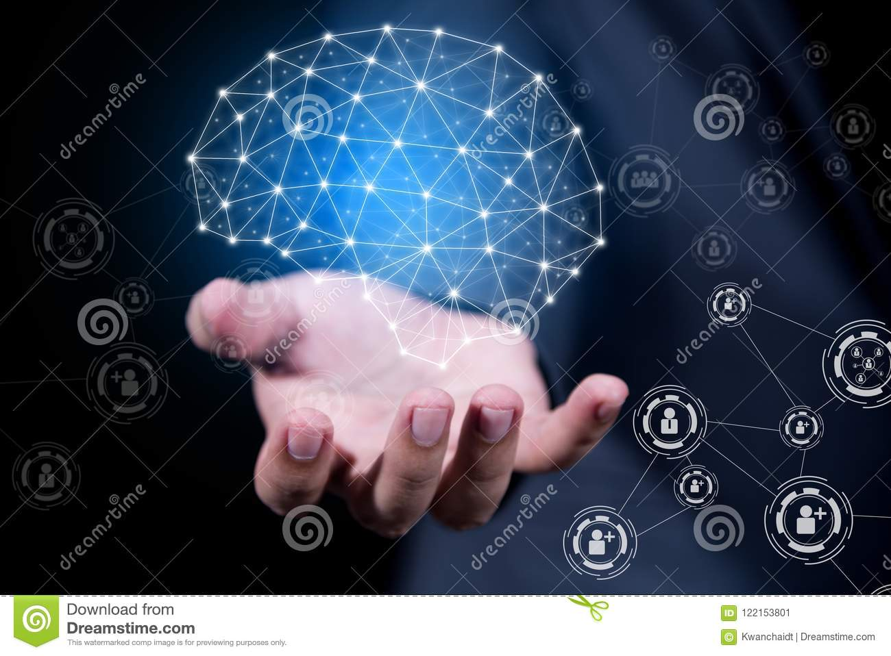 Technology Management Image: Businessman Hand Holding Virtual Brain Of People Network