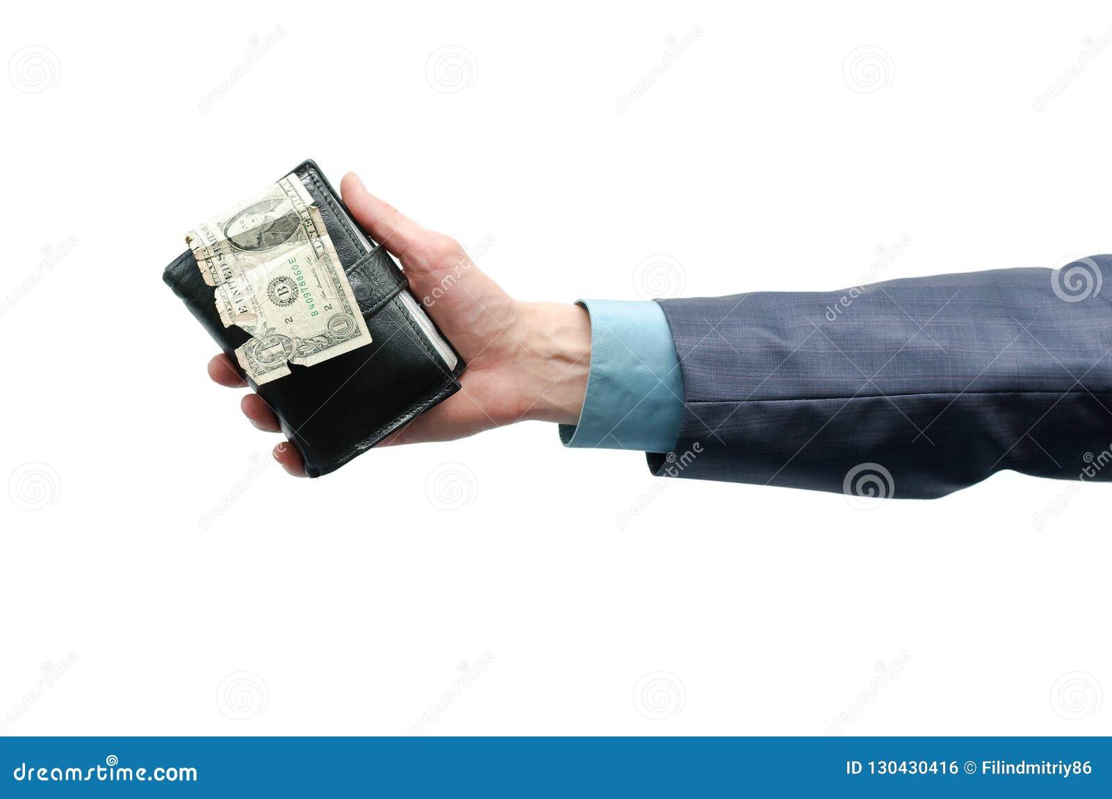 Wallet with money in hands.
