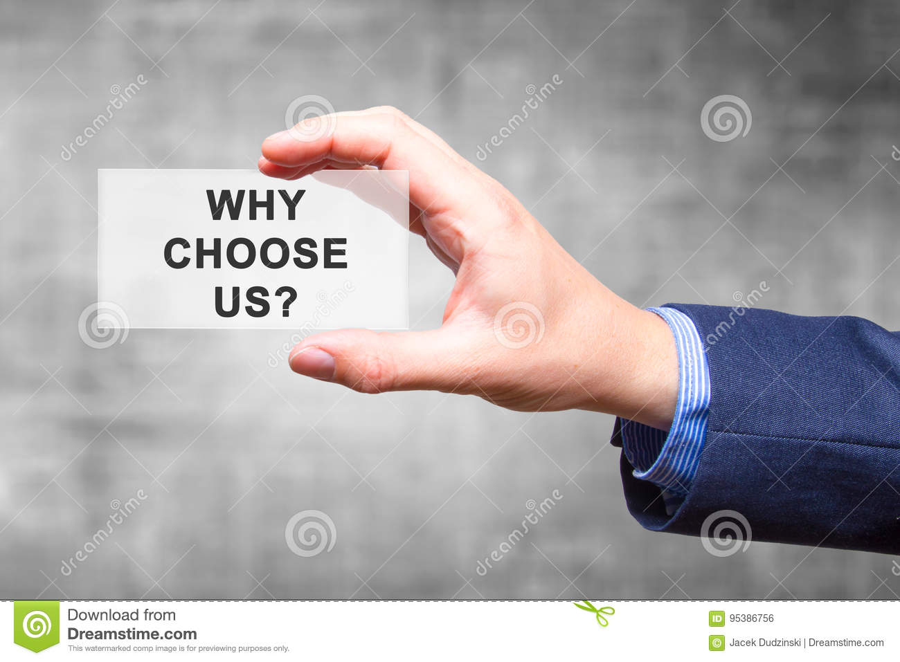 Technology Management Image: Businessman Hand Holding Why Choose Us? Sign Isolated On