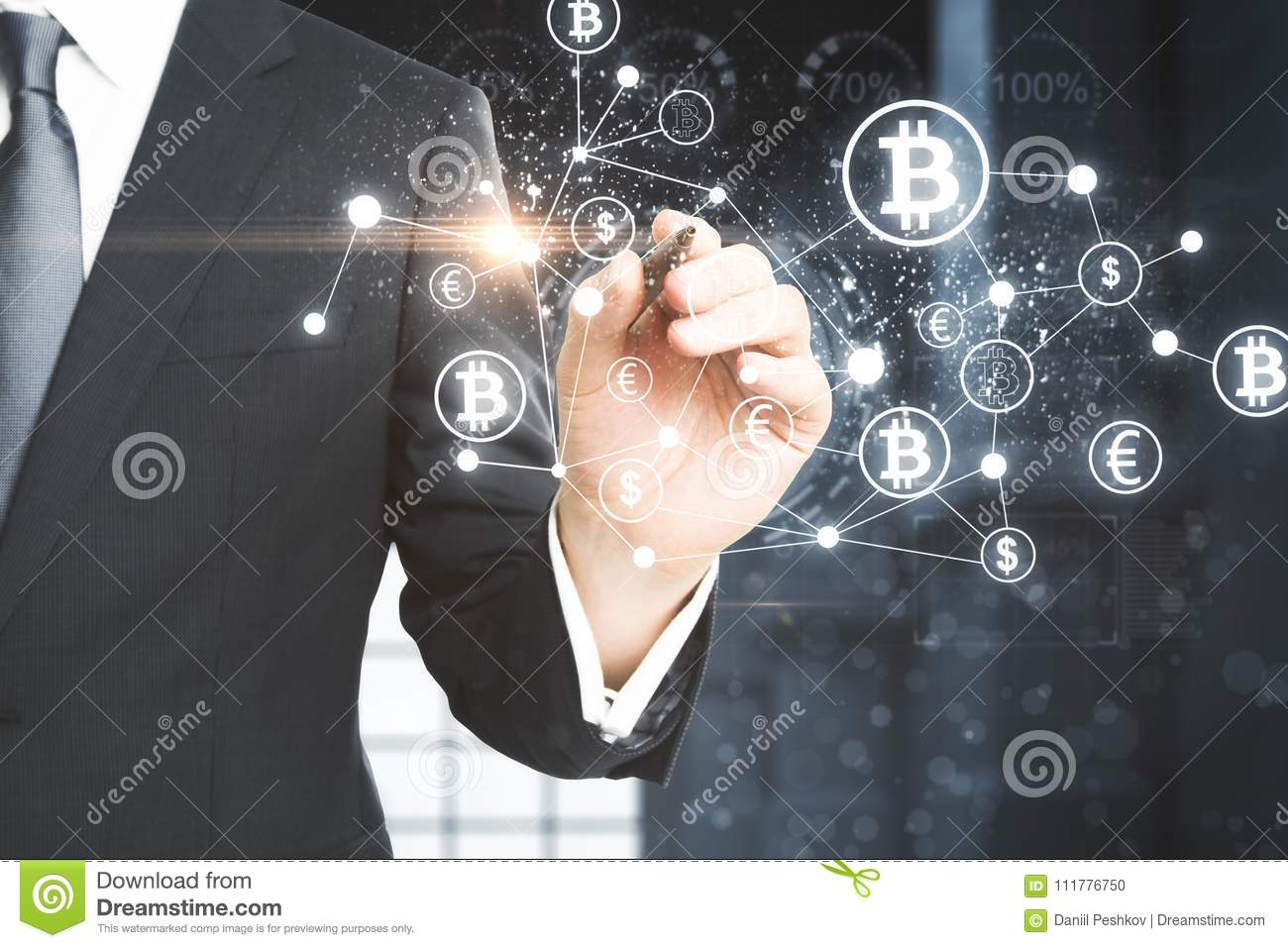Cryptocurrency and computer concept