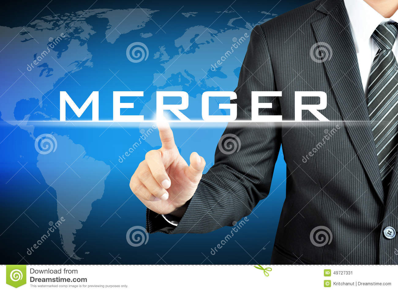 Businessman hand pointing to MERGER sign