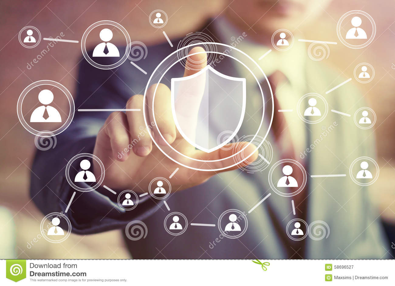 Businessman hand press shield security virus online button icon
