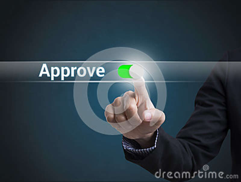 Businessman hand pressing button approve. sign on virtual screen