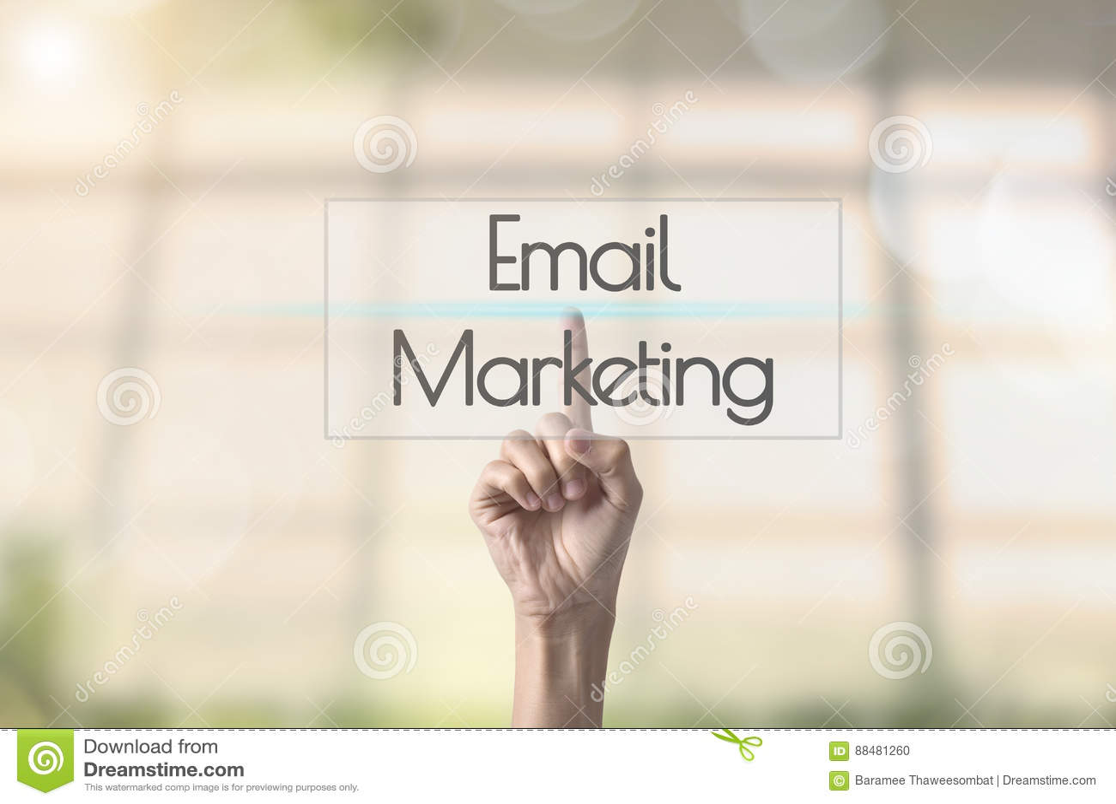 Businessman hand pressing wording Email marketing.