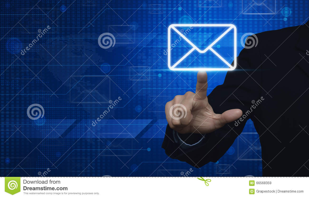 Businessman Hand Pushing Email Icon On Digital World Map Technol Stock Photo