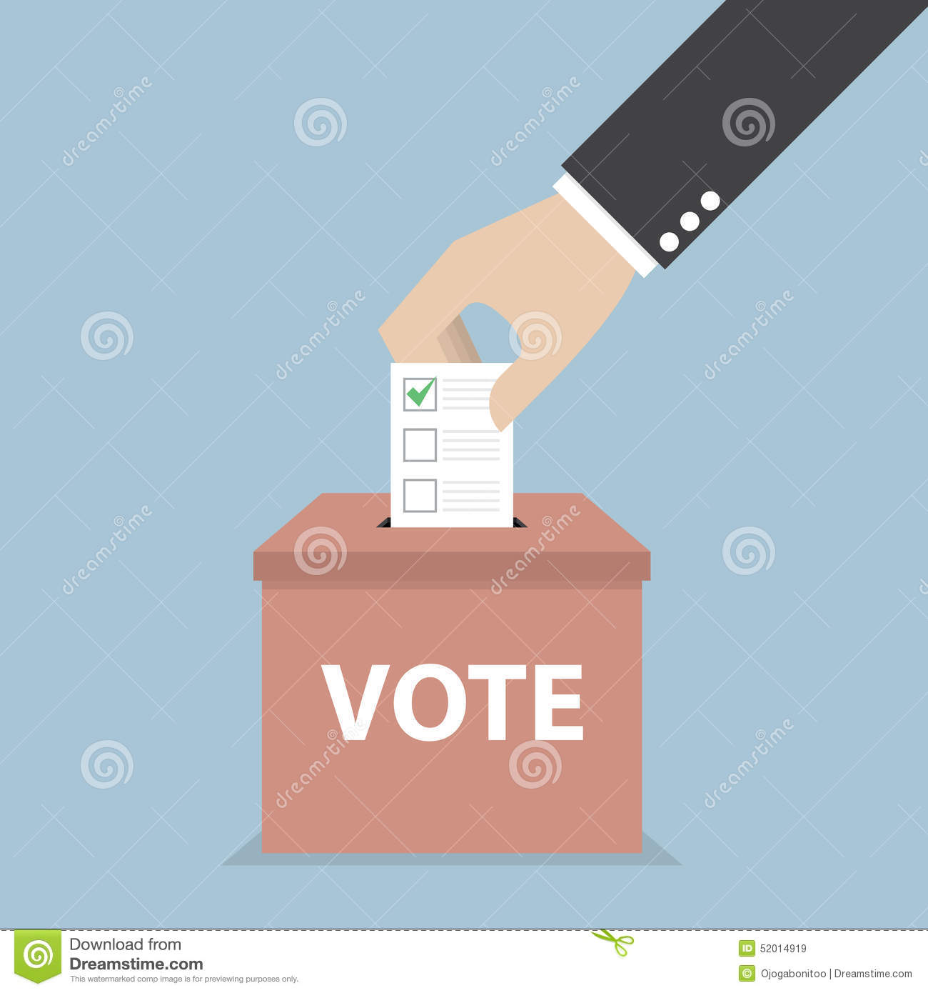 Businessman hand putting voting paper in the ballot box, Voting