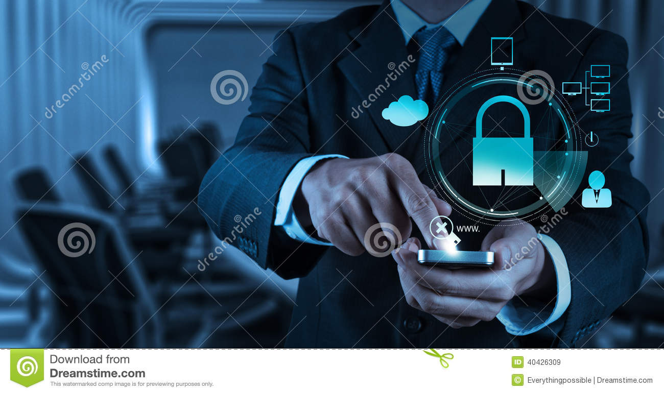 Businessman hand show 3d mobile with padlock