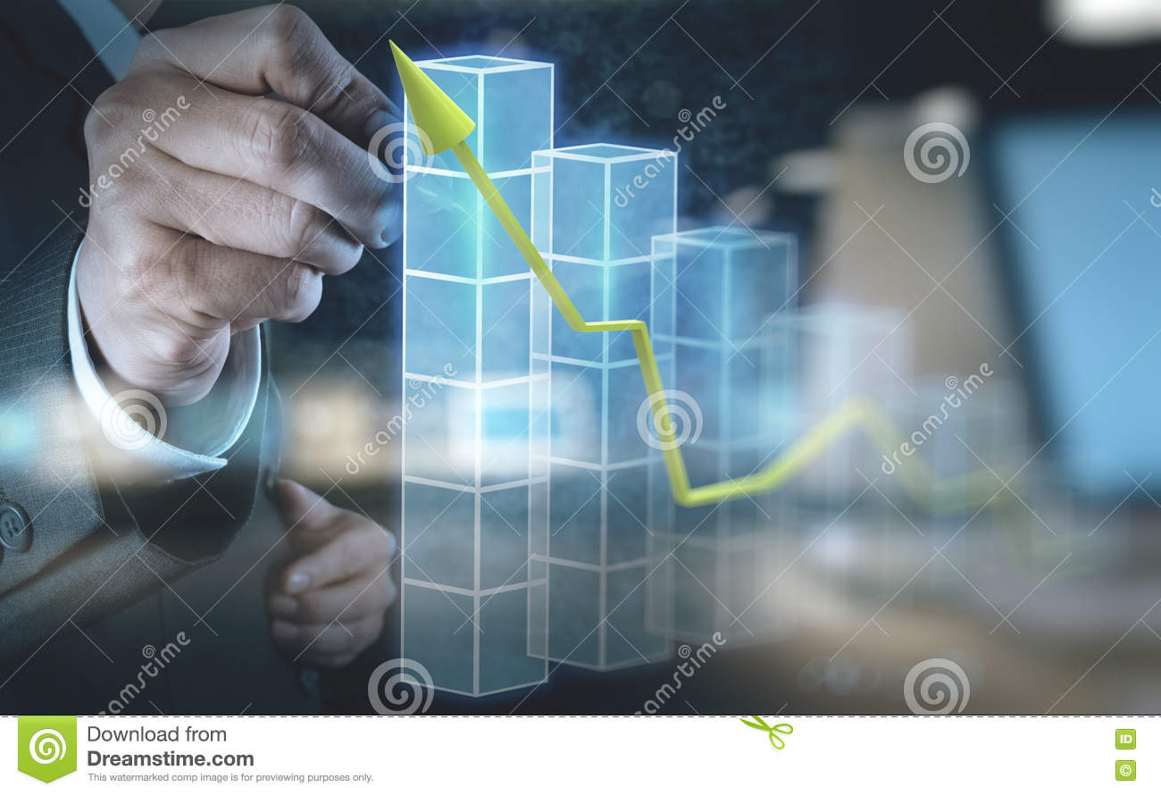 Diagram Of Hand Touch Manual Guide Wiring Switch Circuit Businessman 3d Virtual Chart Business Stock Image Rh Dreamstime Com