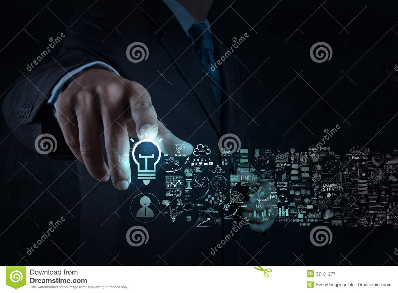 Businessman hand touch light bulb sign and business strategy
