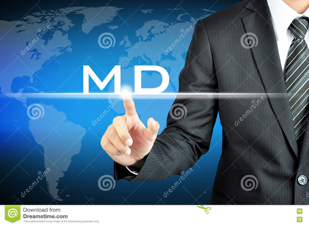 Businessman hand touching MD (or Managing Director) sign