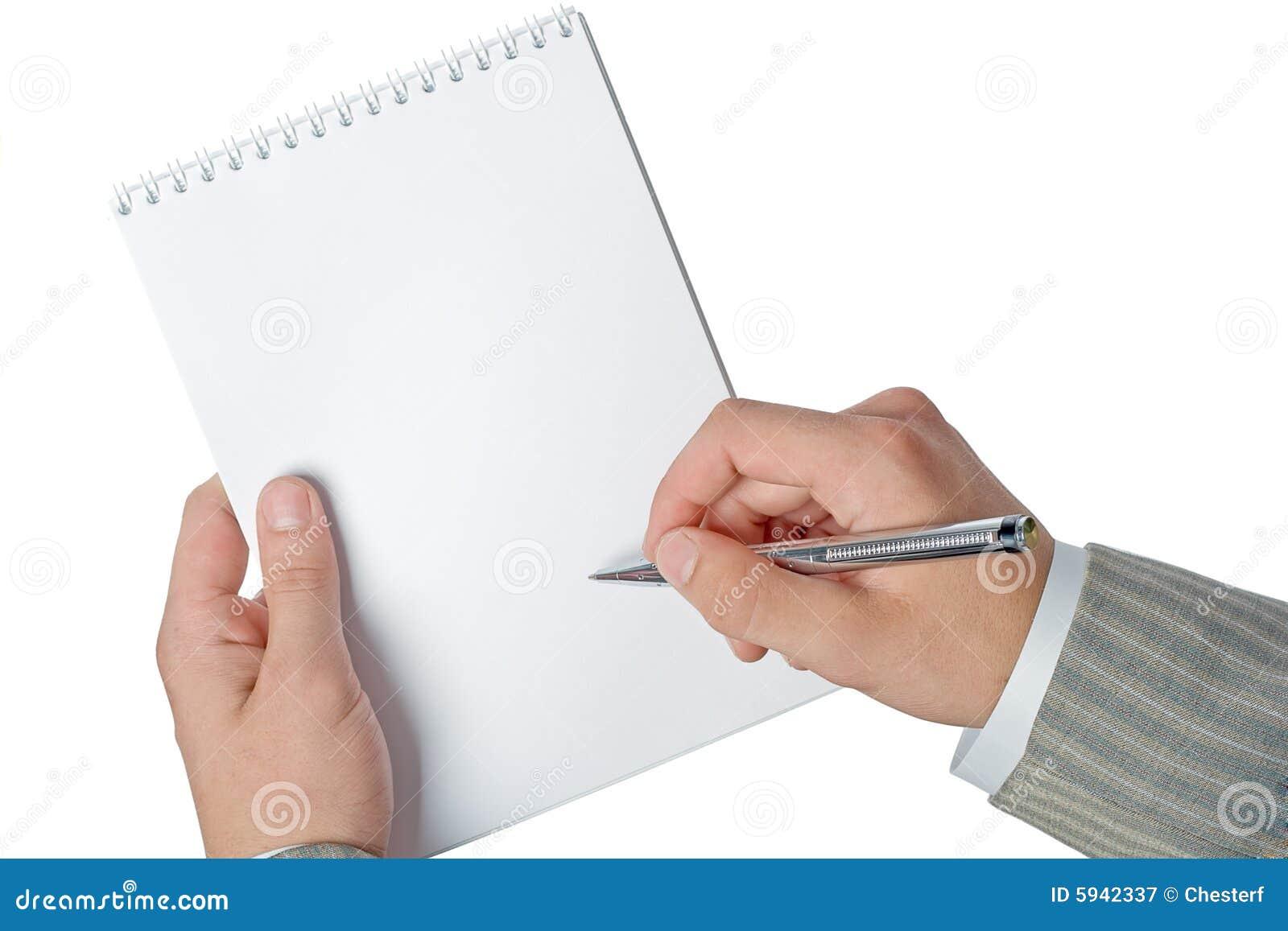 Technology Management Image: Businessman Hands Holding Notepad Stock Image