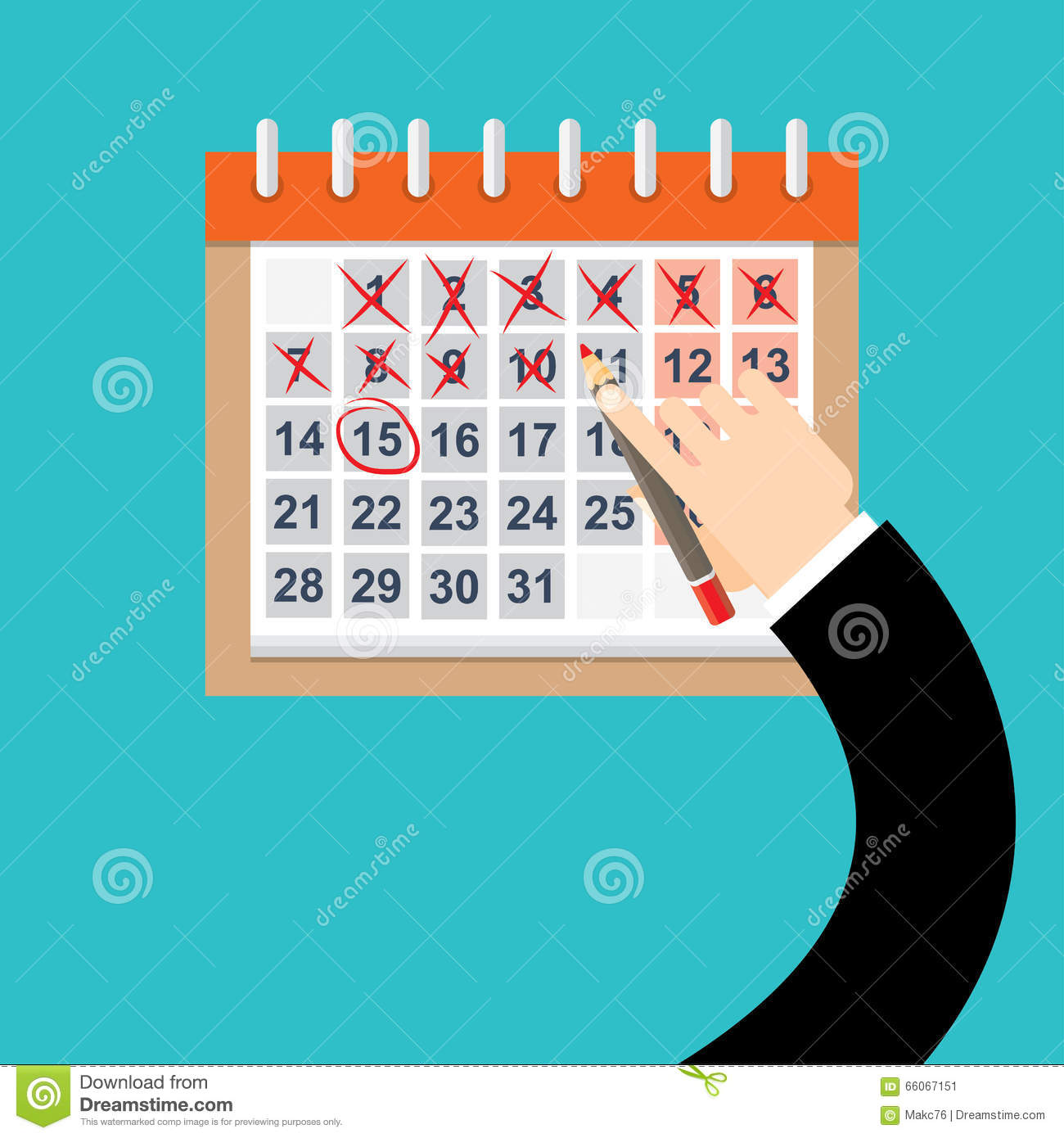 Calendar Drawing For Kids : Businessman hands mark on the calendar vector stock