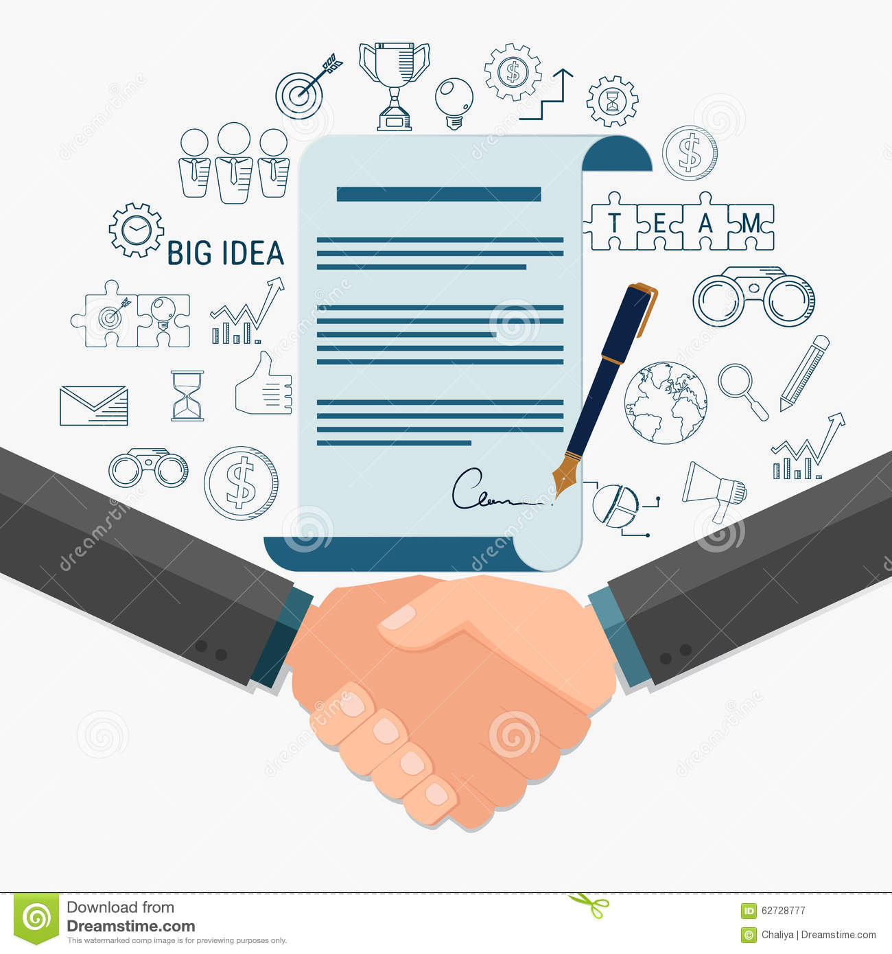 Businessman Handshake And Contract To Sign Agreement