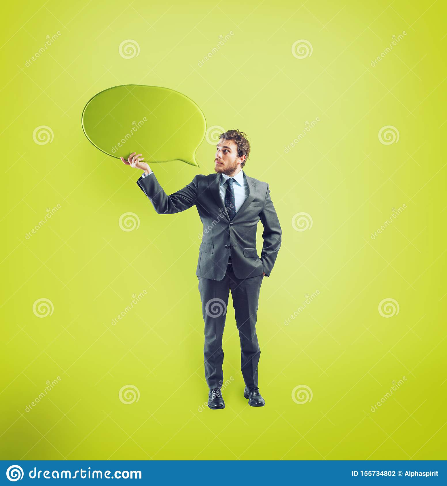 Businessman has something to say in a speech bubble