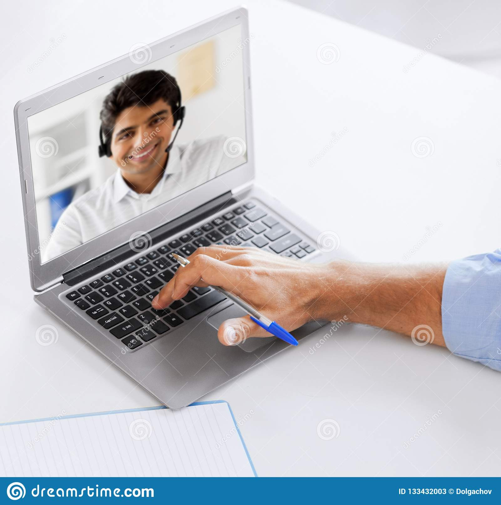 Businessman Having Video Call On Laptop At Office Stock ...