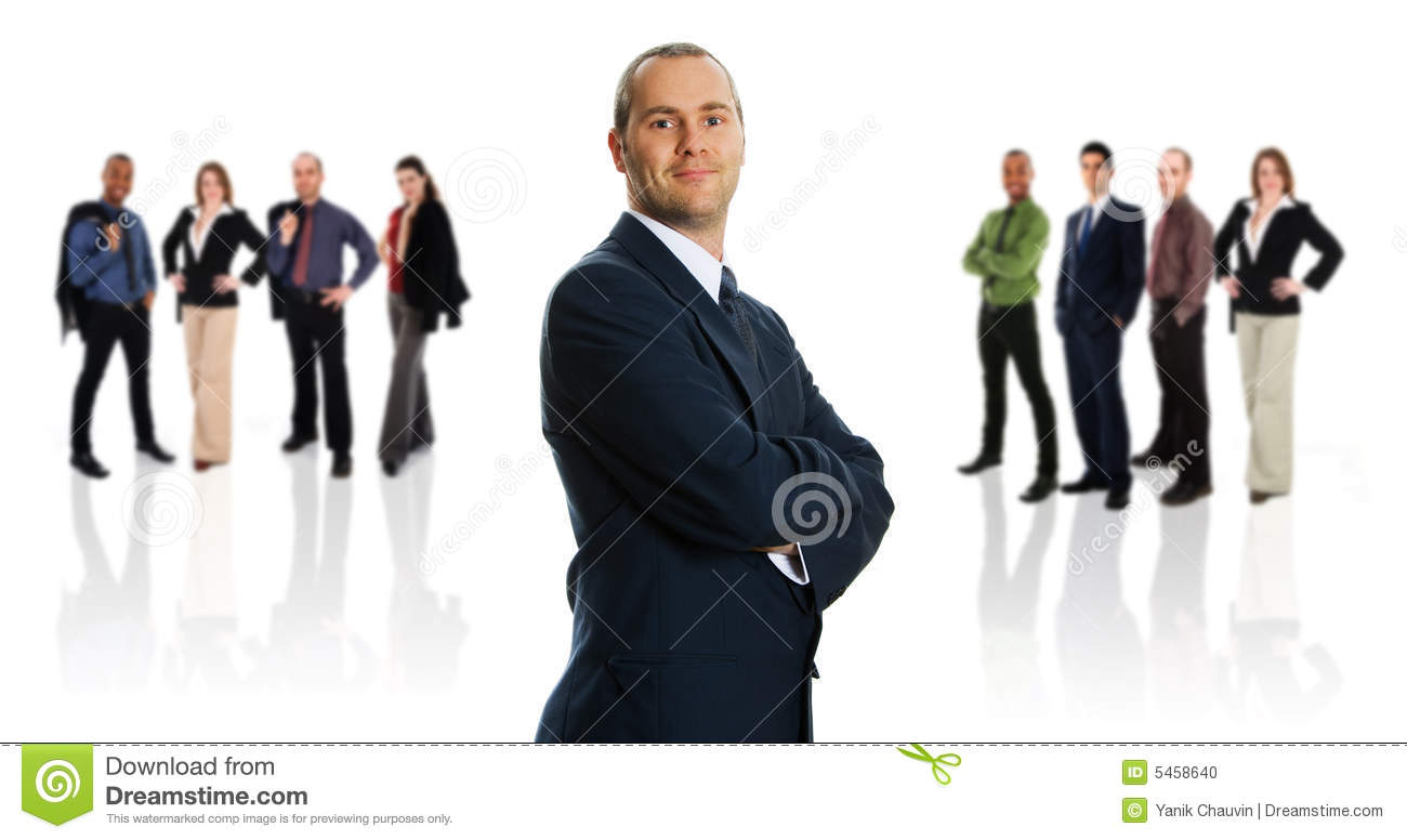 Businessman and her Team