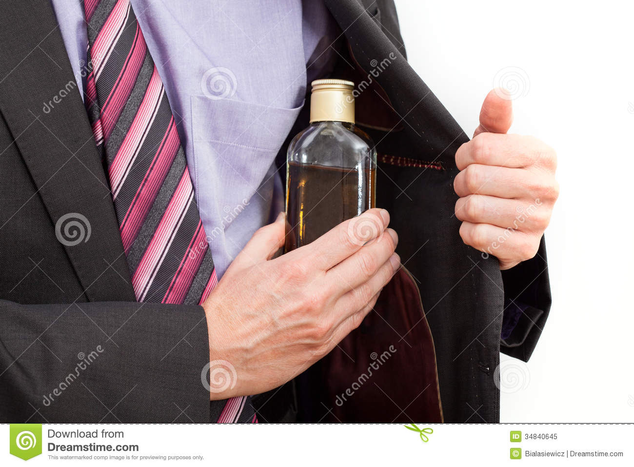 Businessman Hiding An Alcohol Royalty Free Stock Photo