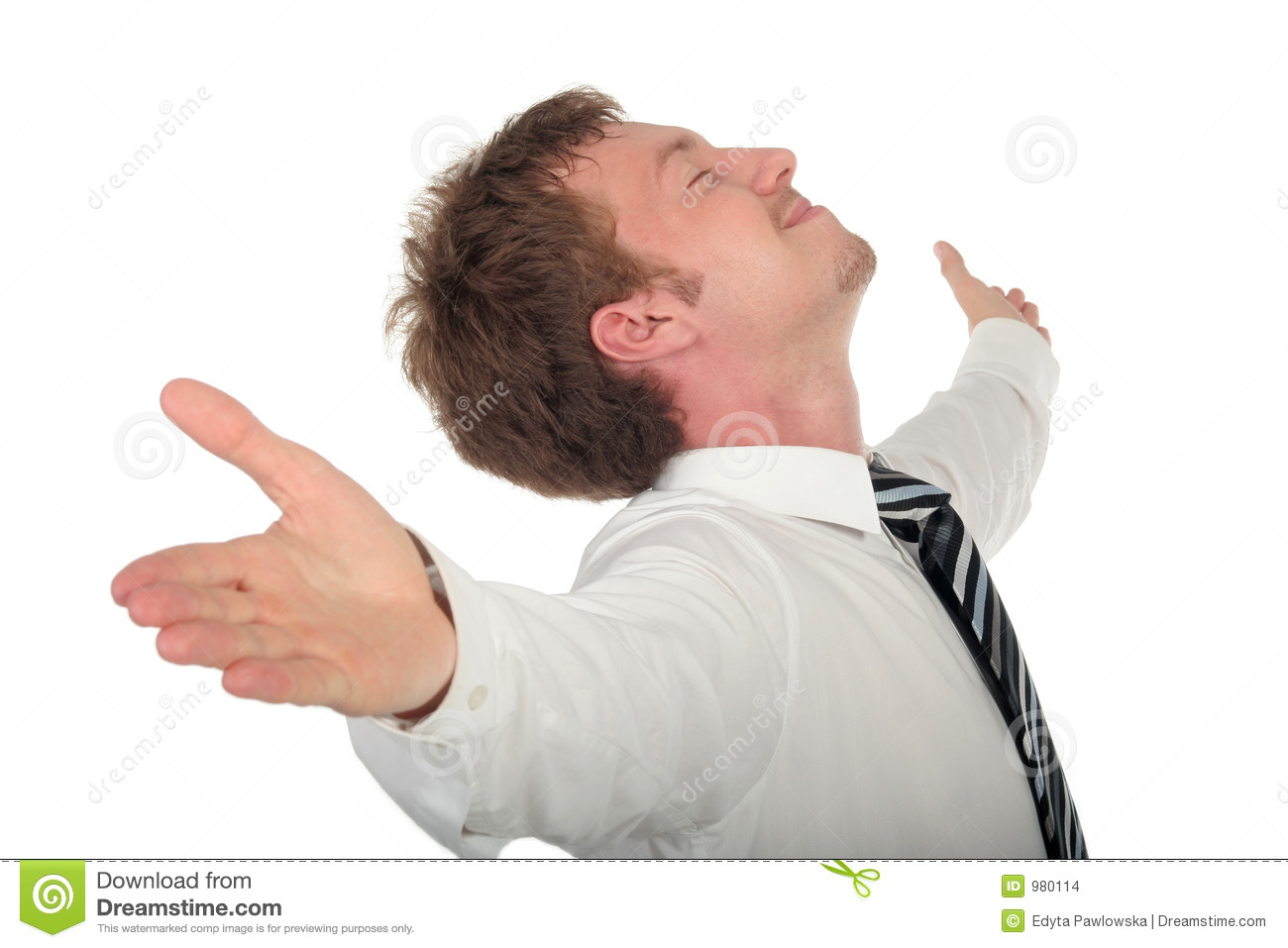 Businessman with his arms wide open