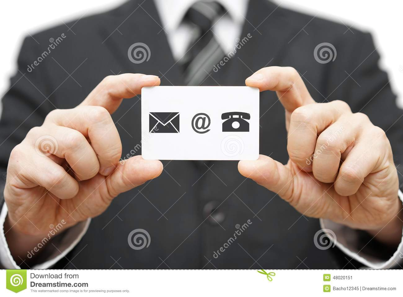 Businessman Hold Business Card With Email,mail, Phone Icon ...