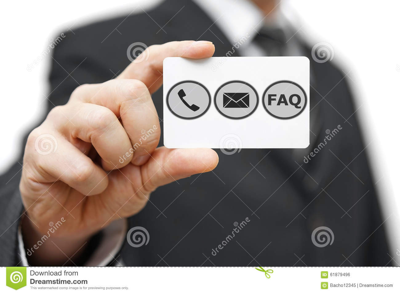 Businessman hold business card with phoneemail and faq icon stock royalty free stock photo download businessman hold business card with phone magicingreecefo Gallery