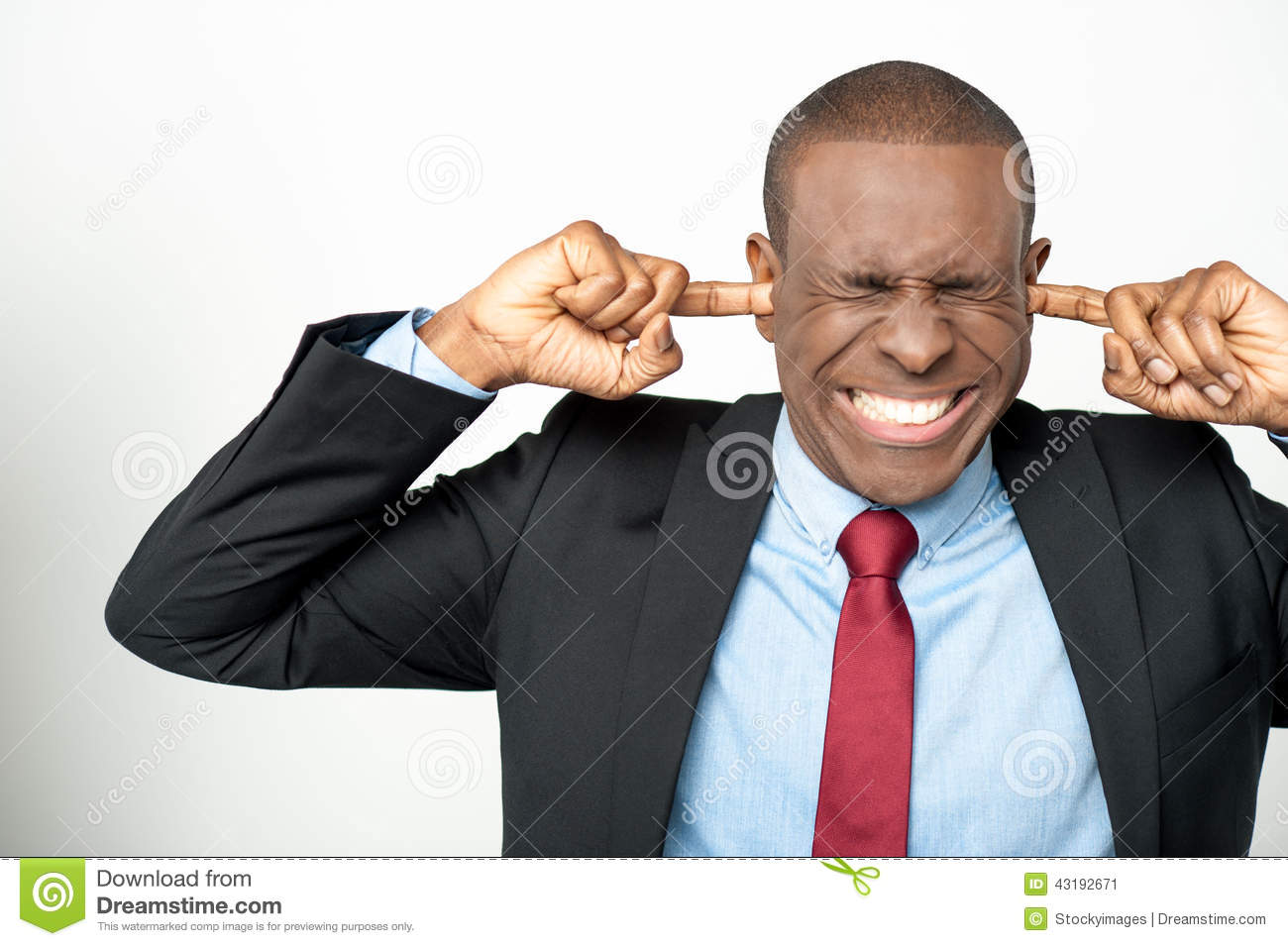 Technology Management Image: Businessman Hold Hands On Temples Ears Stock Photo