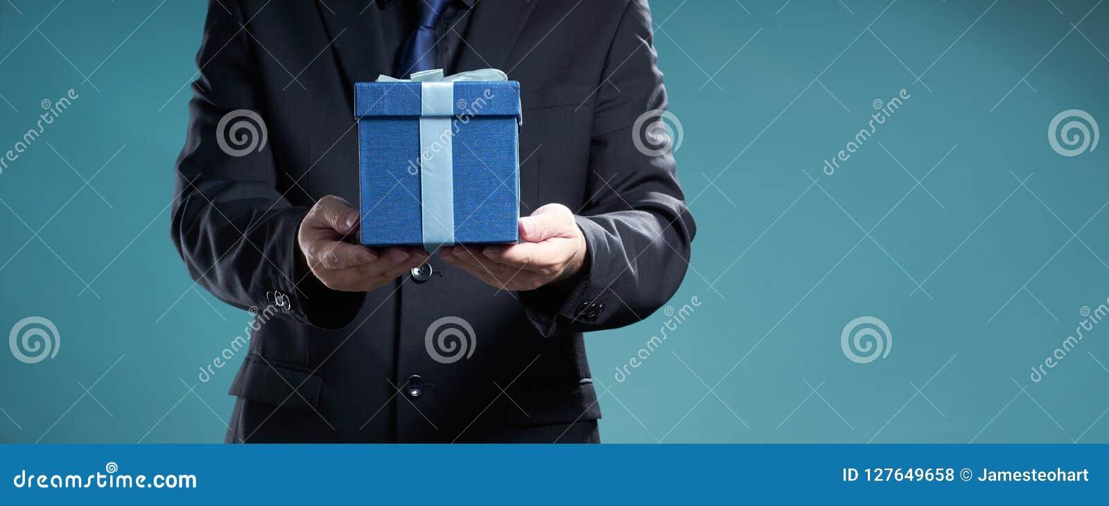 Businessman Hold The Present Box