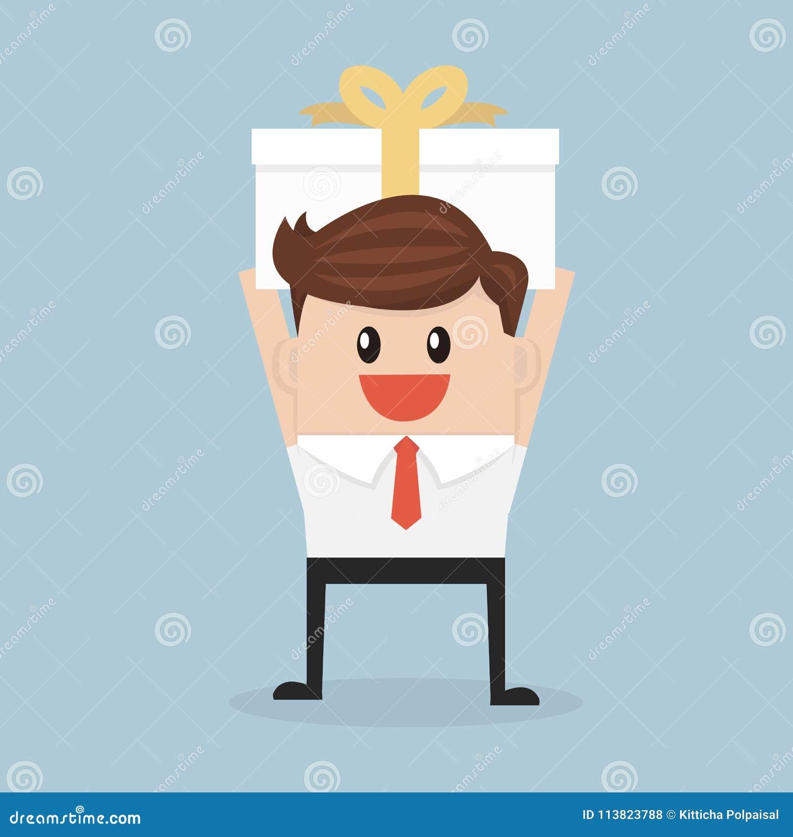 Businessman Holding A Big Gift Box
