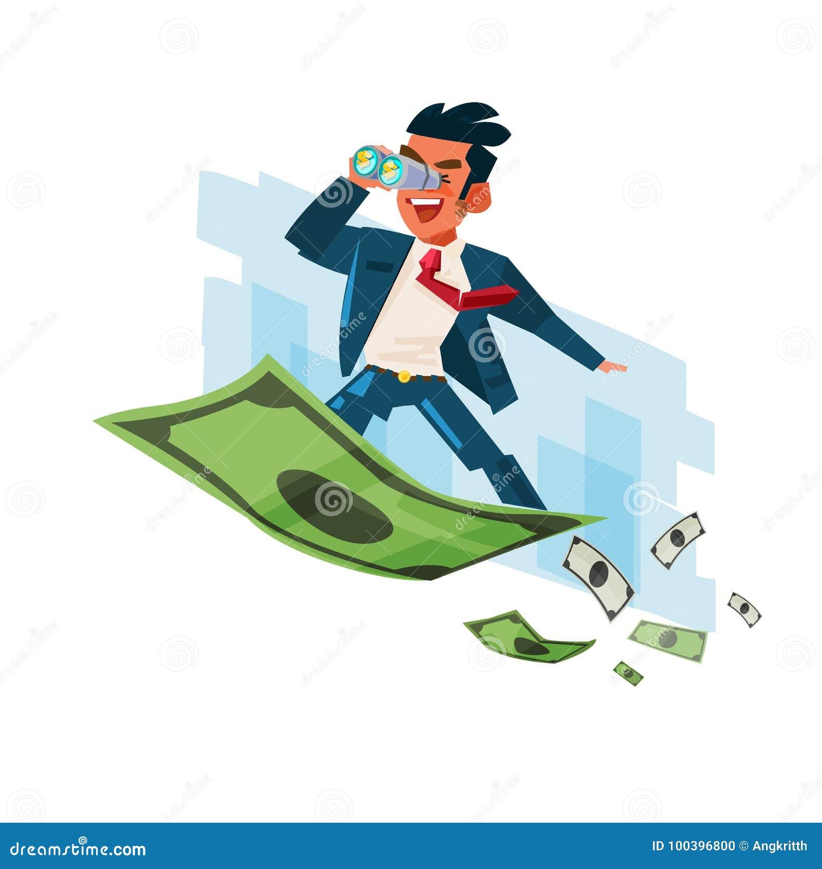 Businessman holding binocular on flying of money carpet -