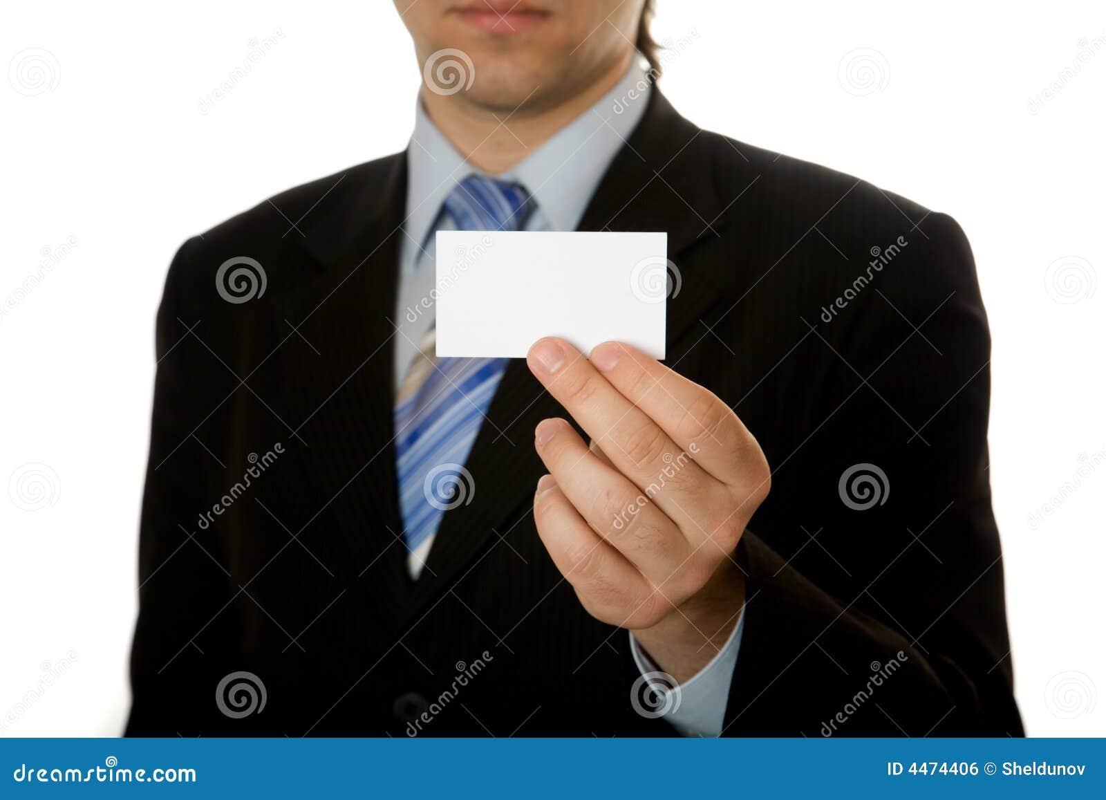 businessman holding blank card stock photo  image of