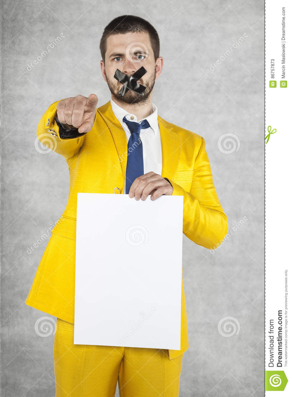 Businessman Holding A Blank Card, Points To You Stock ...
