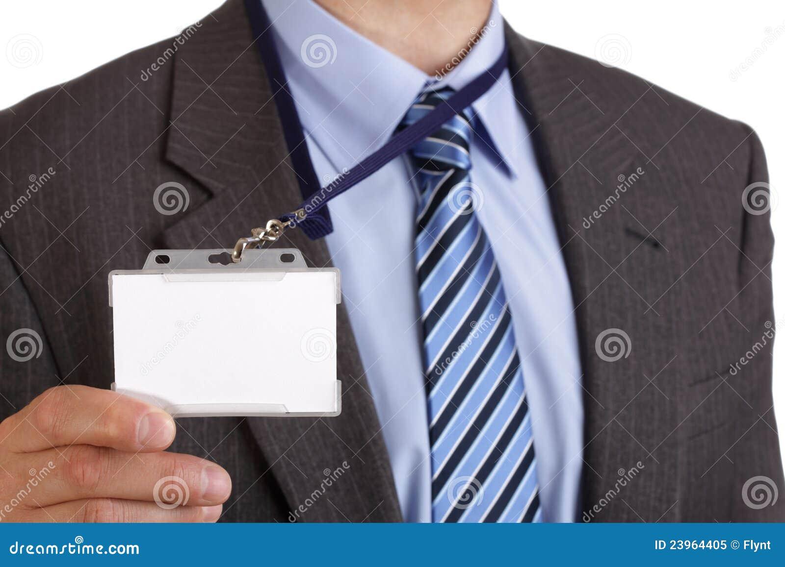 Businessman Holding Blank Id Badge Royalty Free Stock