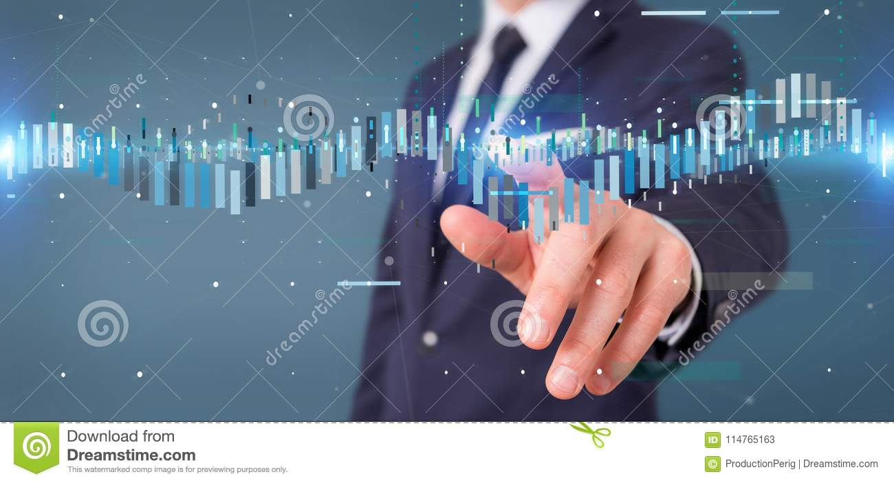 Businessman holding a Business stock exchange trading data information