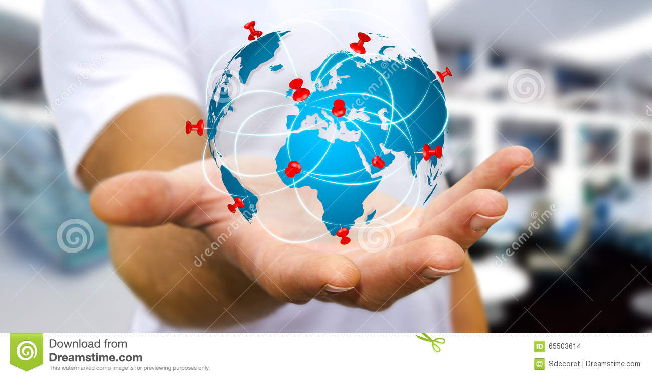 Businessman holding digital world map in his hands stock photo businessman holding digital world map in his hands royalty free stock photo gumiabroncs Choice Image