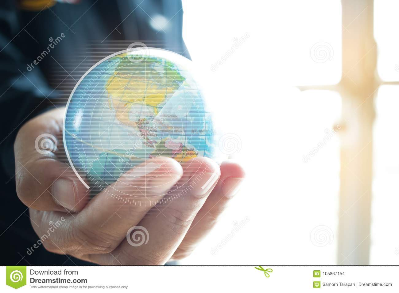 Businessman Holding Earth Globe Model In Hands  Concept For