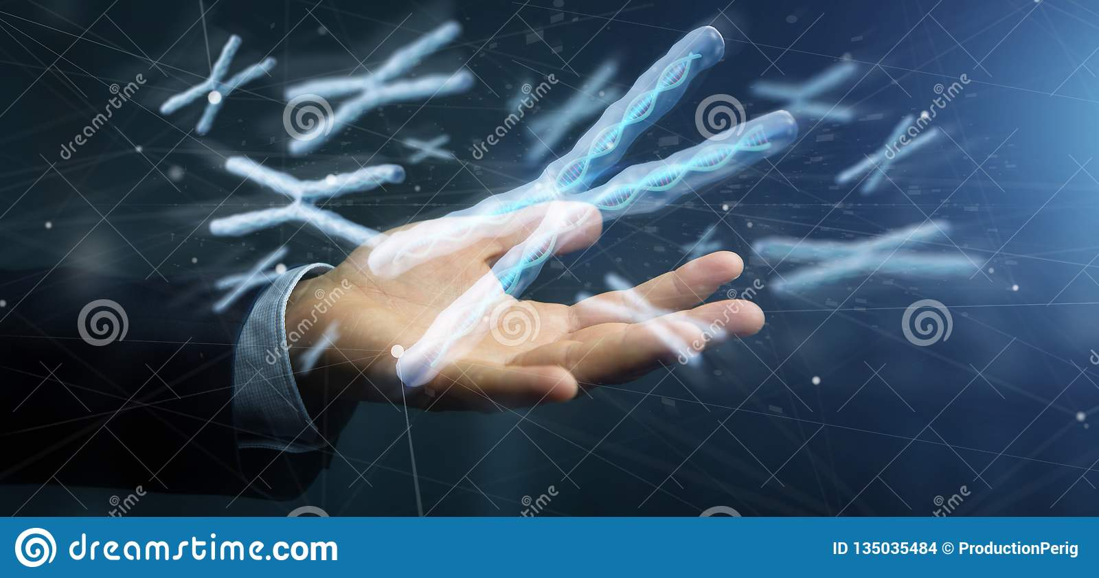 Businessman holding a Group of chromosome with DNA inside isolated on a background 3d rendering