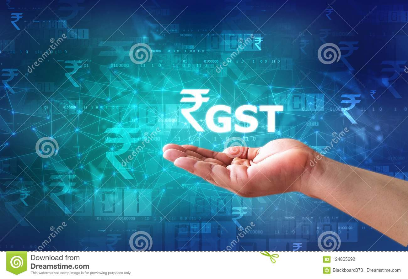 Businessman Holding GST India Word