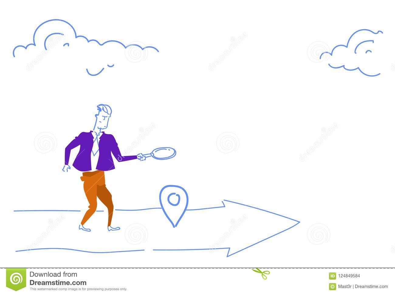 Businessman holding magnifying zoom glass search geo tag location business arrow destination concept horizontal sketch