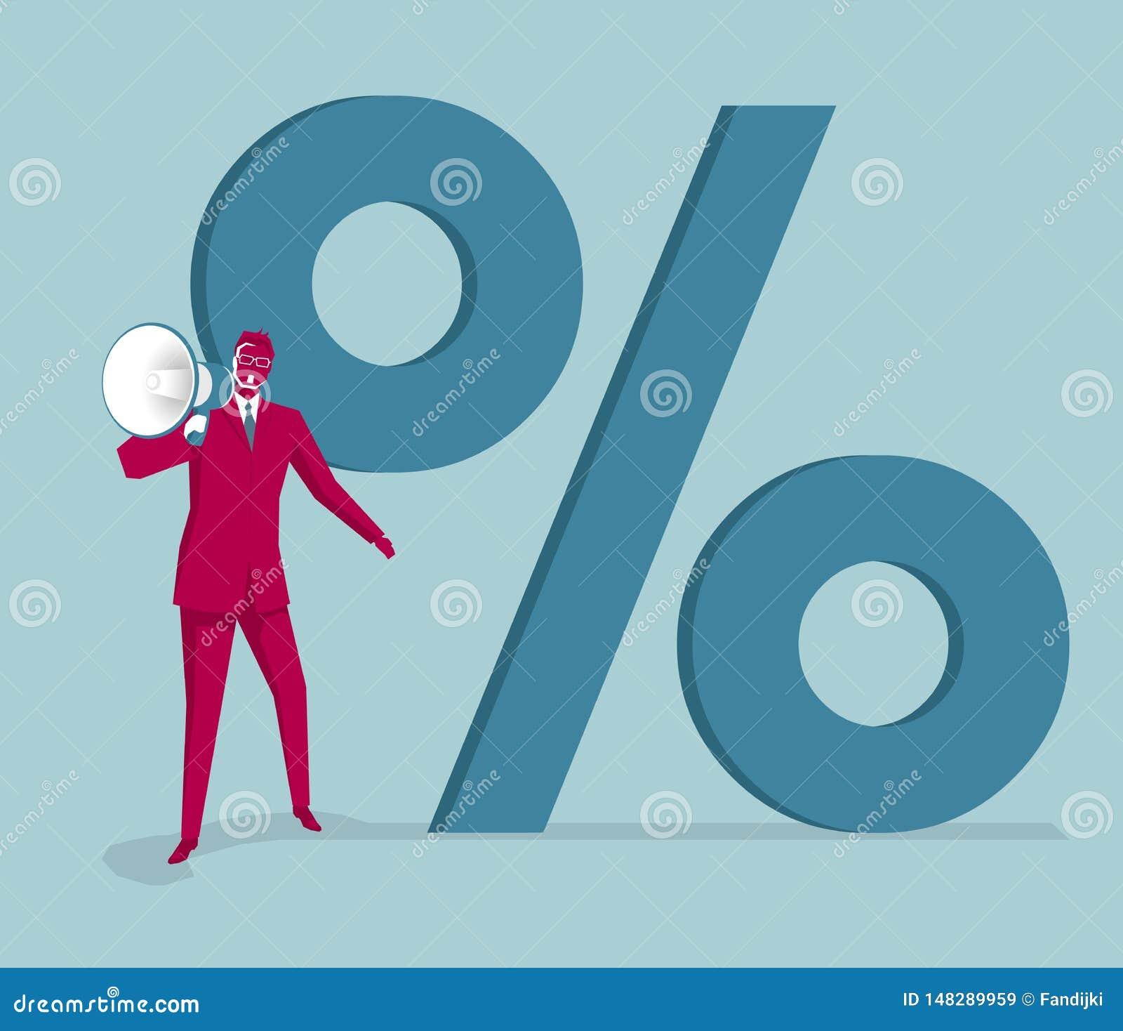 Businessman holding megaphone before the percentage symbol.