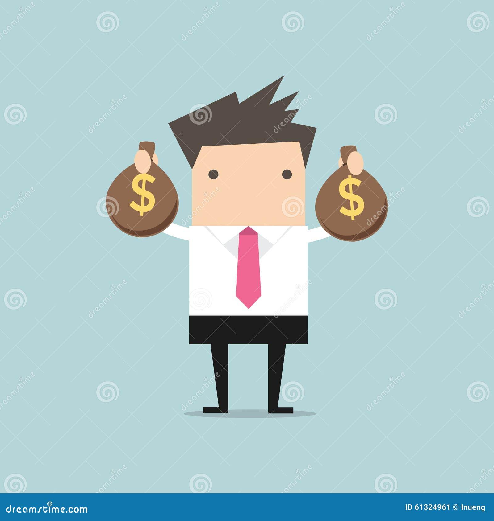 Businessman holding money bag in hands