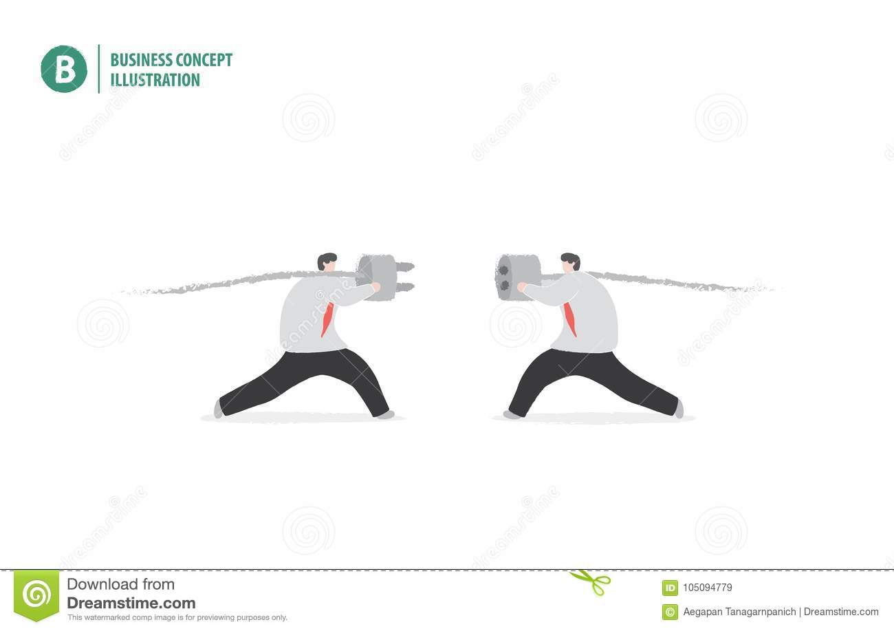 Businessman Holding Plug Meaning Collaboration Or Teamwork Stock