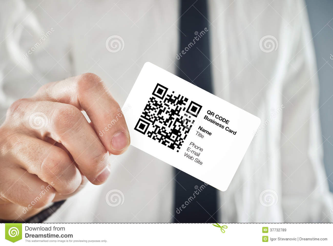 Businessman Holding QR Code Business Card Stock Image - Image of ...