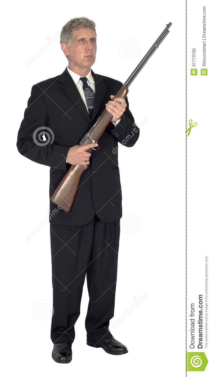 Businessman Holding Rifle Weapon Gun Isolated Royalty Free Stock Photo ...