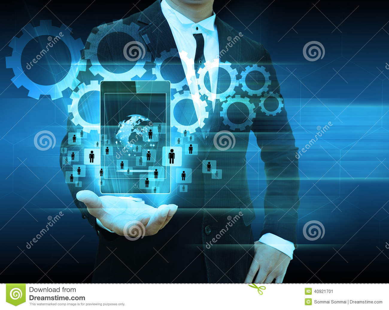 Technology Management Image: Businessman Holding Smartphone Technology And Social Media