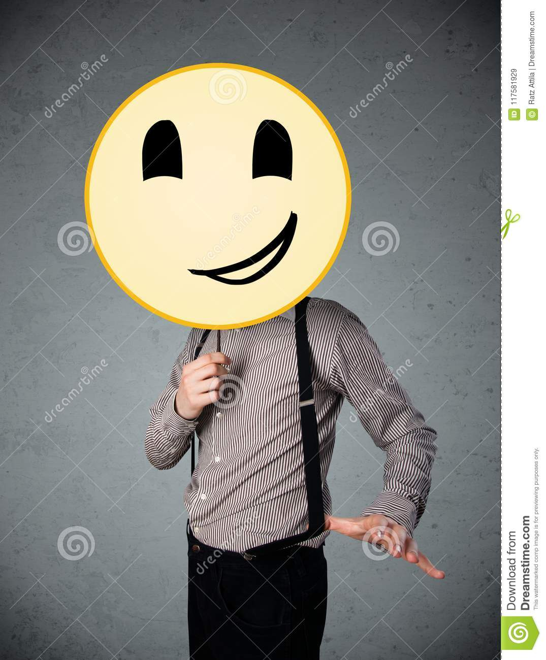 Businessman Holding A Smiley Face Emoticon Stock Image Image Of