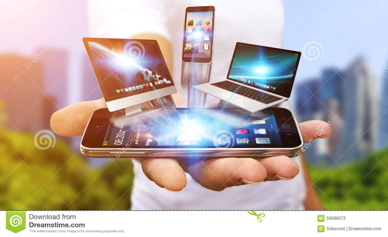 Technology Management Image: Businessman Holding Tech Device In His Hand Stock Photo