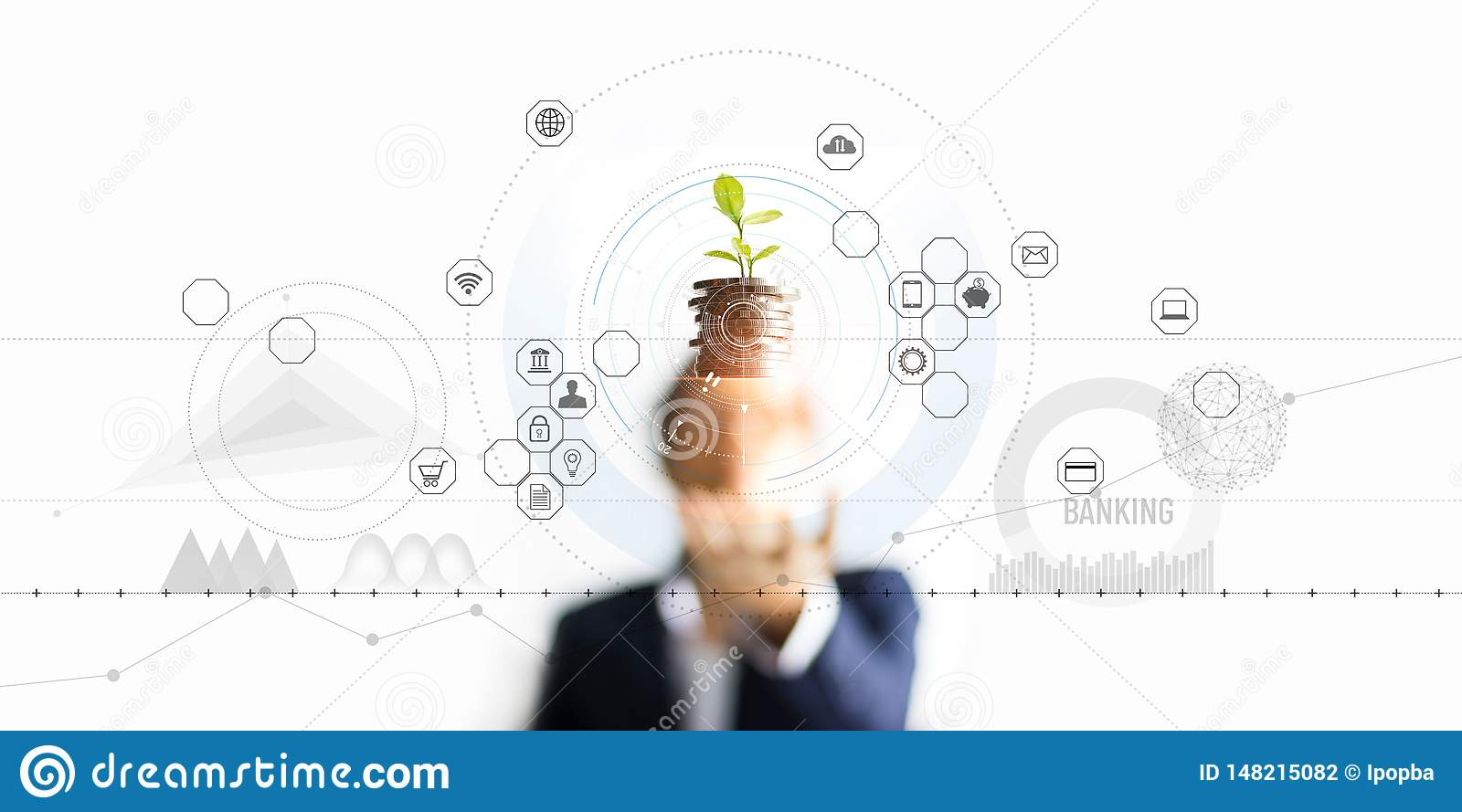 .Businessman holding a tree sprout growing on coins, abstract growth investing. Finance and icon customer, banking network